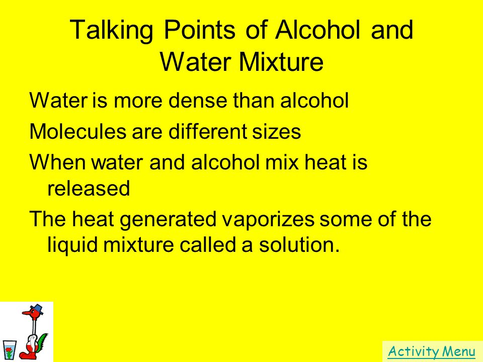 Talking Points of Alcohol and Water Mixture