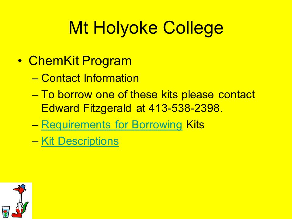Mt Holyoke College ChemKit Program