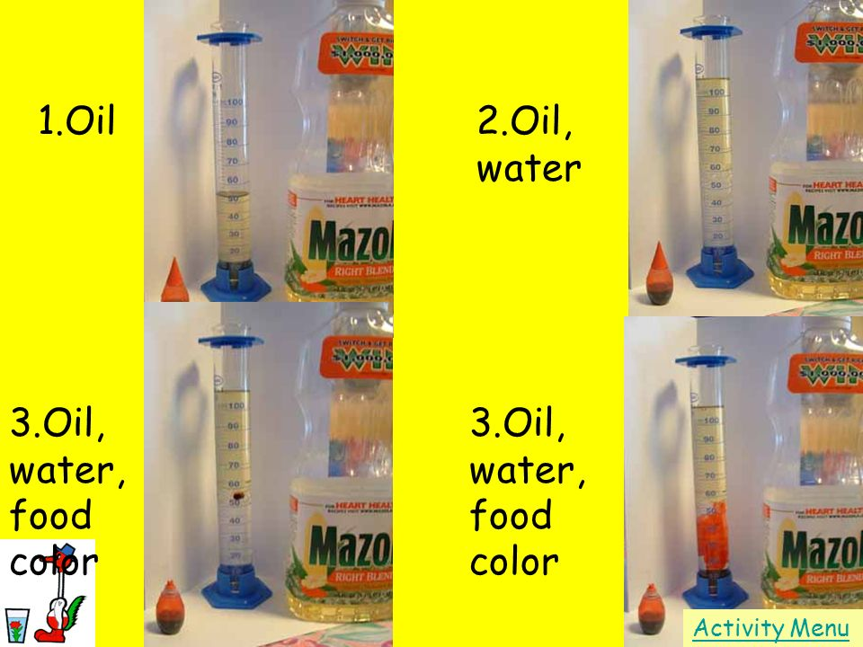 1.Oil 2.Oil, water 3.Oil, water, food color 3.Oil, water, food color
