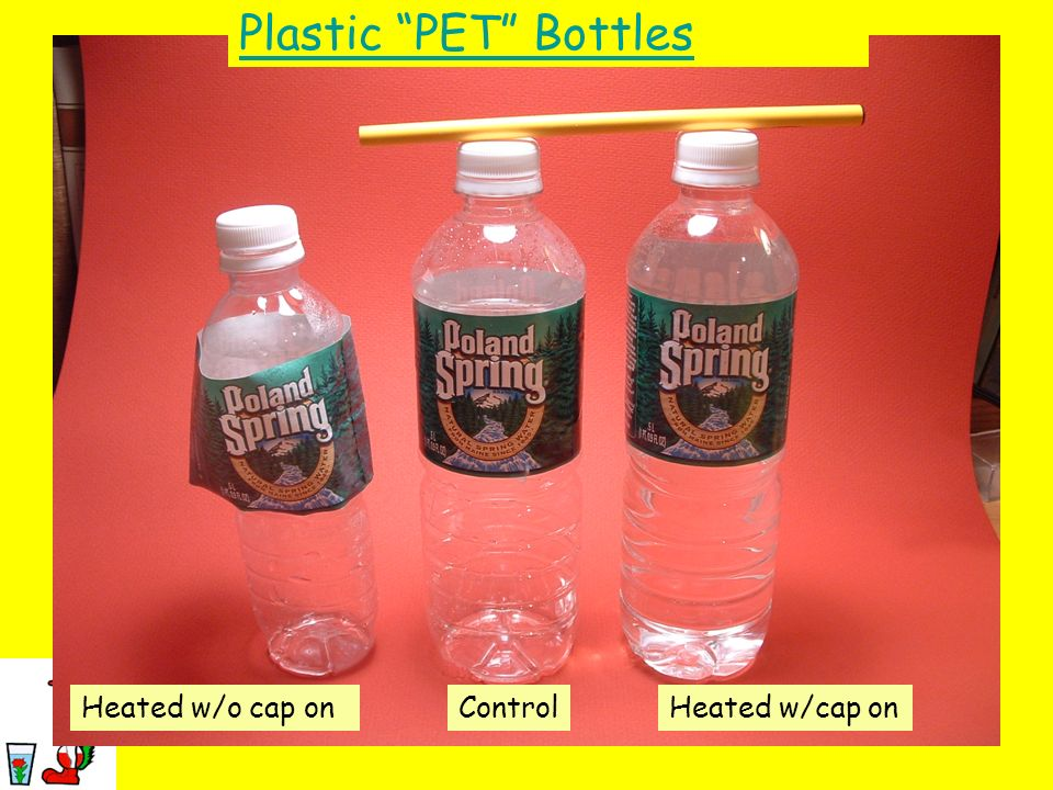 Plastic PET Bottles Heated w/o cap on Control Heated w/cap on