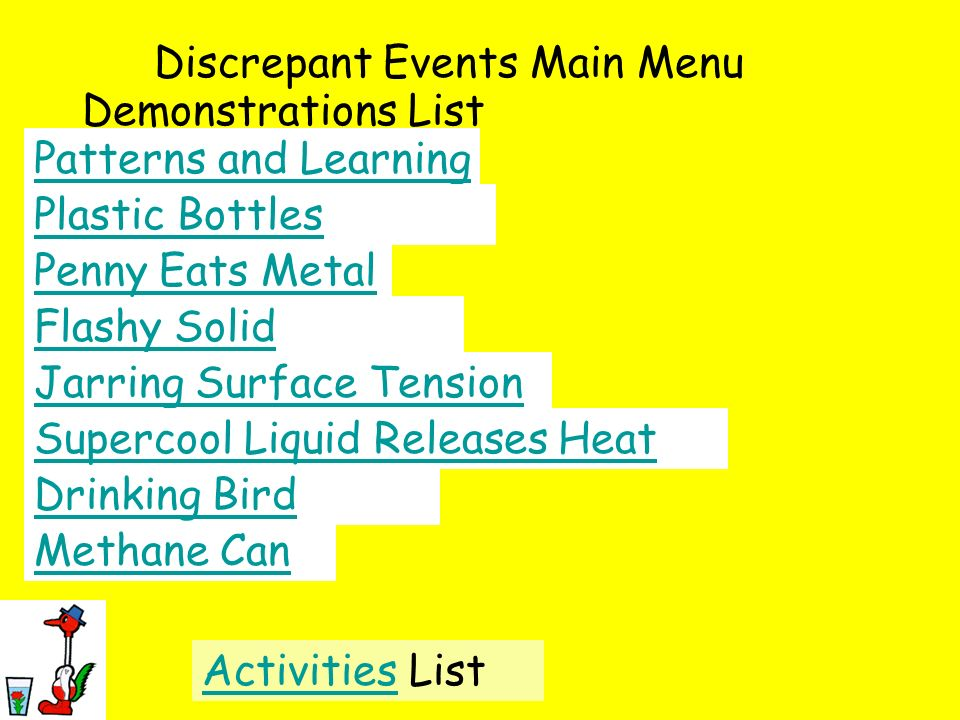 Discrepant Events Main Menu