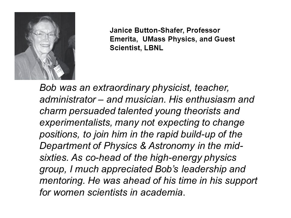 Janice Button-Shafer, Professor Emerita, UMass Physics, and Guest Scientist, LBNL