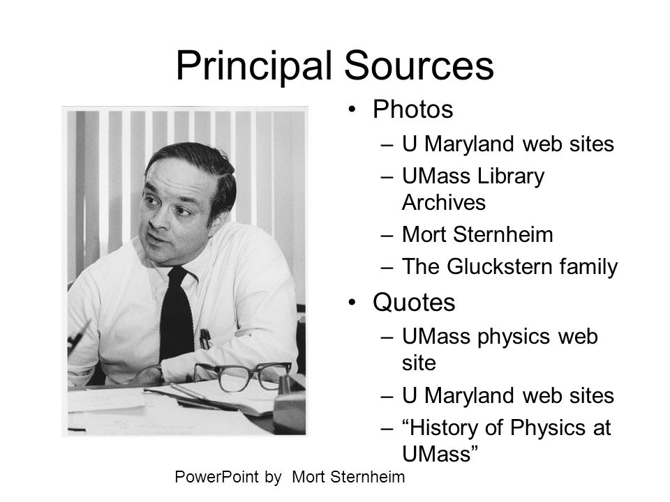 Principal Sources Photos Quotes U Maryland web sites