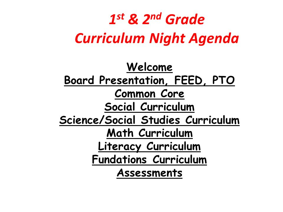 1st 2nd Grade Curriculum Night Agenda Ppt Video Online Download
