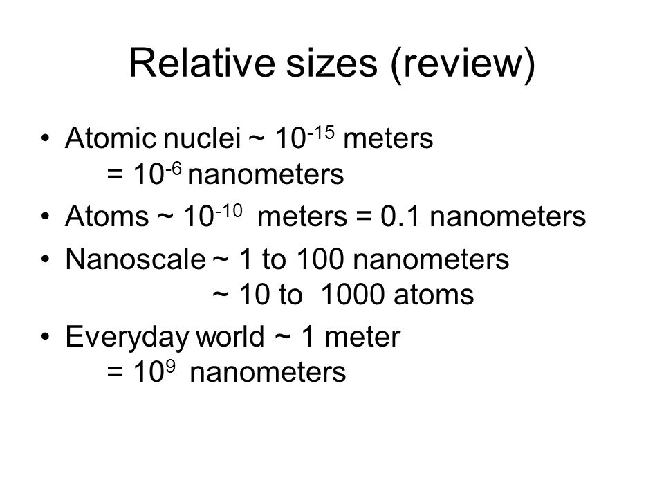 Relative sizes (review)