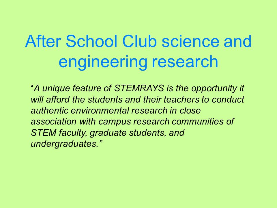 After School Club science and engineering research