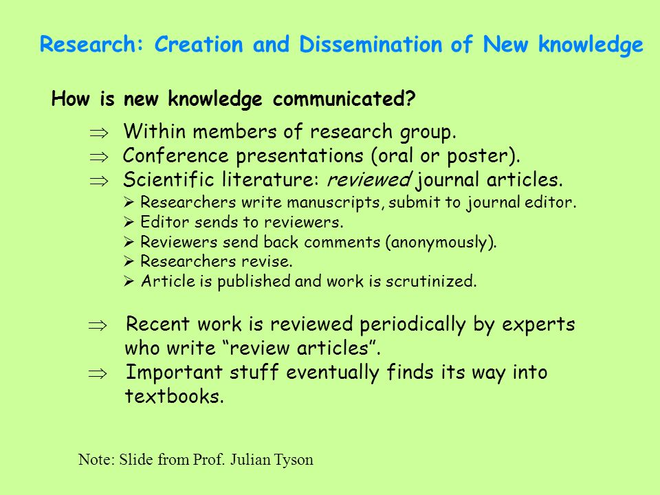 Research: Creation and Dissemination of New knowledge