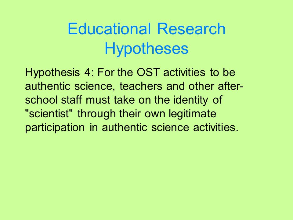 Educational Research Hypotheses