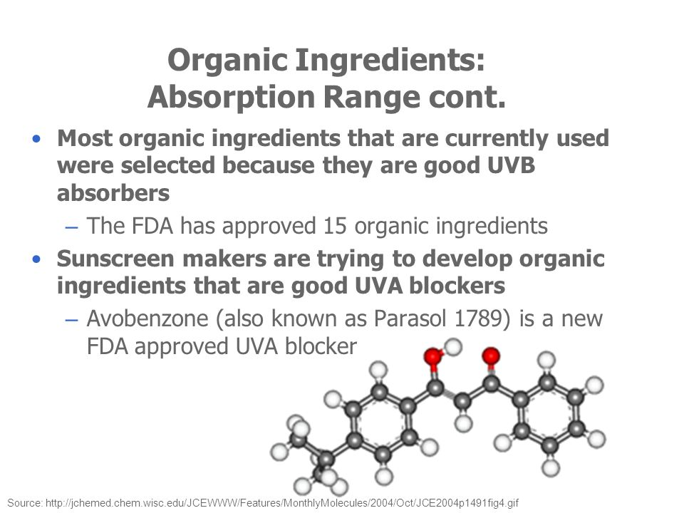 Organic Ingredients: Absorption Range cont.