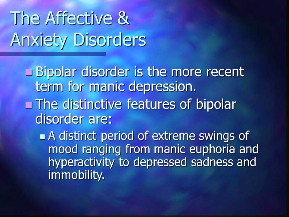 an analysis of the manic depressive illness or the bipolar affective disorder Early recognition and treatment of bipolar disorders improve outcomes  meta- analysis and systematic review of randomized studies  hypomanic episode with  major depression no history of manic or mixed episode.