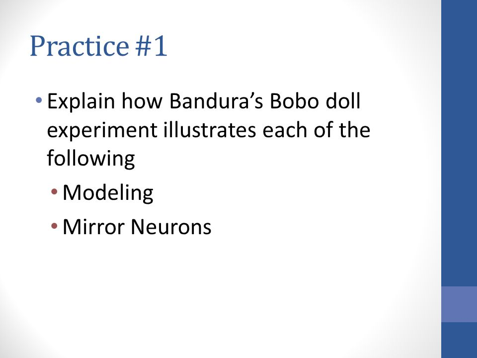 """bobo doll study and its application The bobo doll experiment allowed bandura to draw several the theory of social learning and education"""" provided me with the opportunity to."""