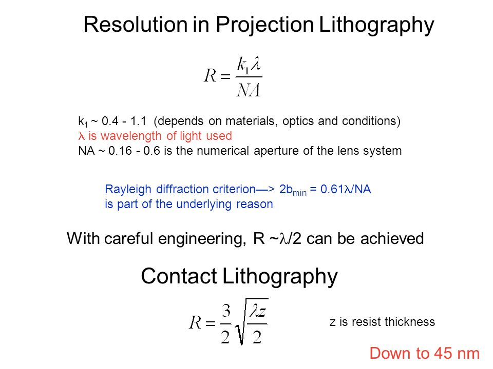 Resolution in Projection Lithography