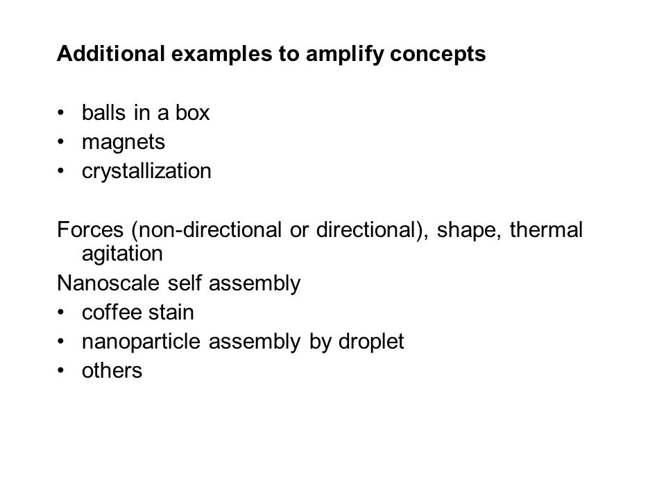 Additional examples to amplify concepts