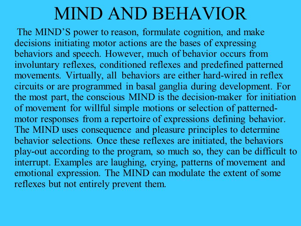 brain and reflex behaviors Behavior definition, manner of behaving or acting see more dictionary  as a courtship dance or startle reflex often behaviors a behavior pattern.