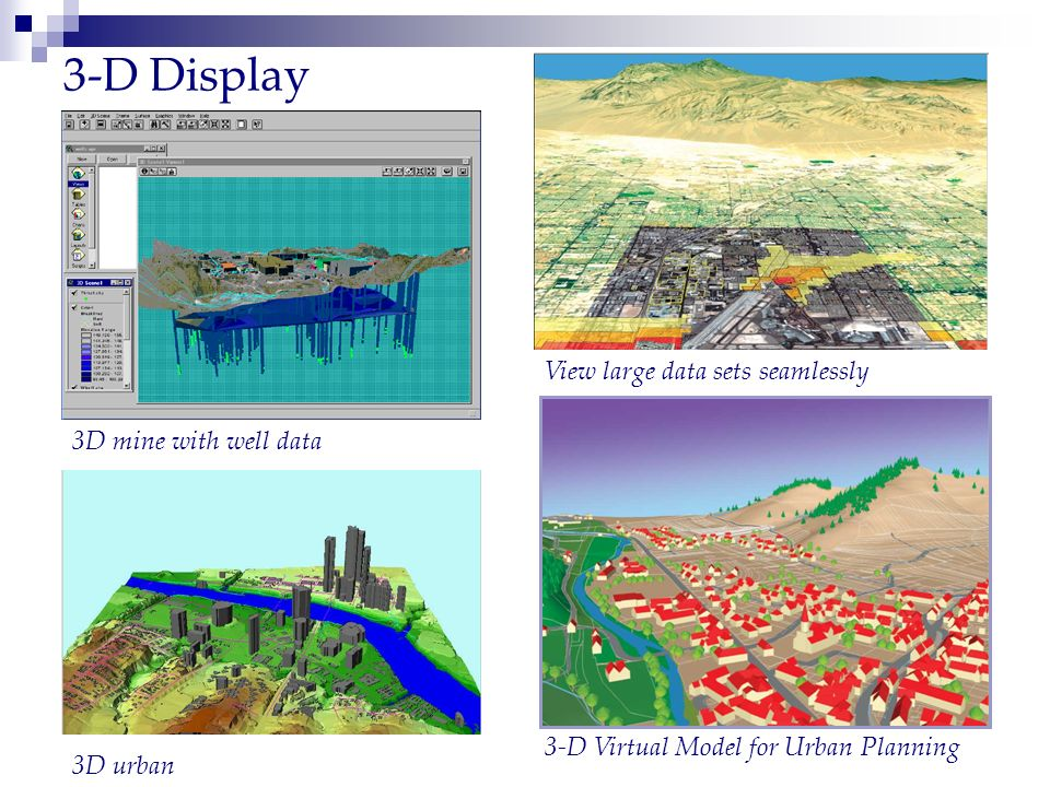 3-D Display View large data sets seamlessly 3D mine with well data