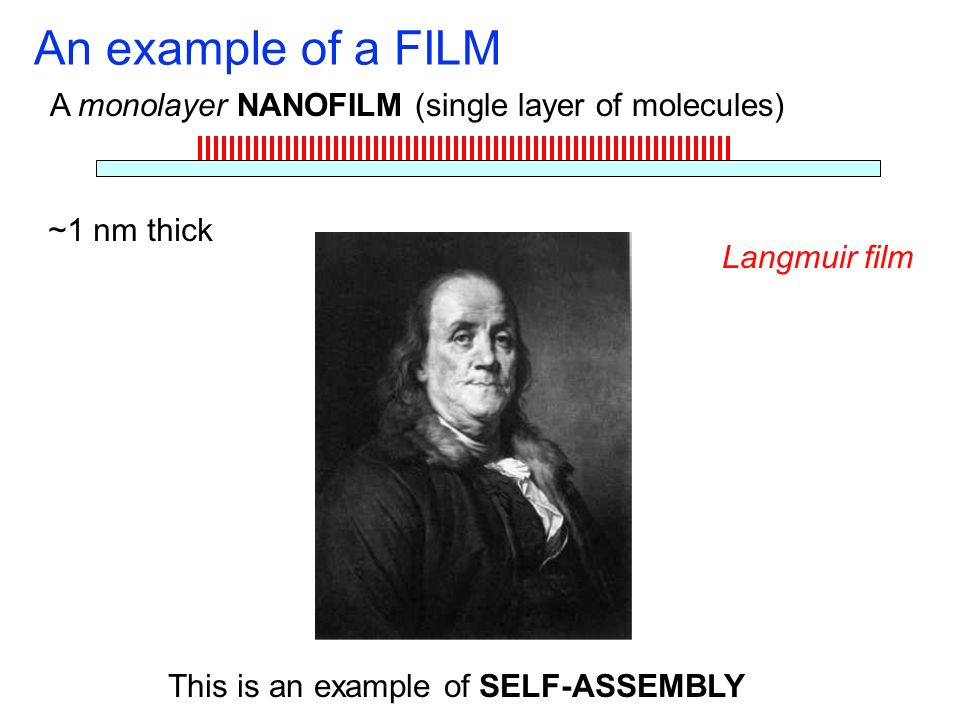 An example of a FILM A monolayer NANOFILM (single layer of molecules)