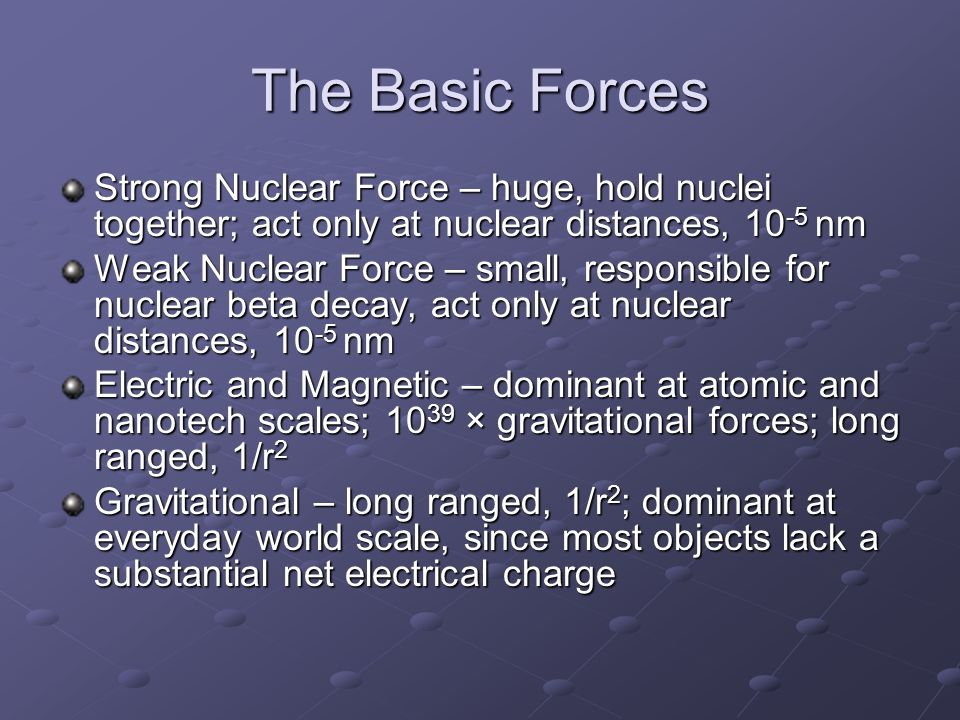 The Basic Forces Strong Nuclear Force – huge, hold nuclei together; act only at nuclear distances, 10-5 nm.