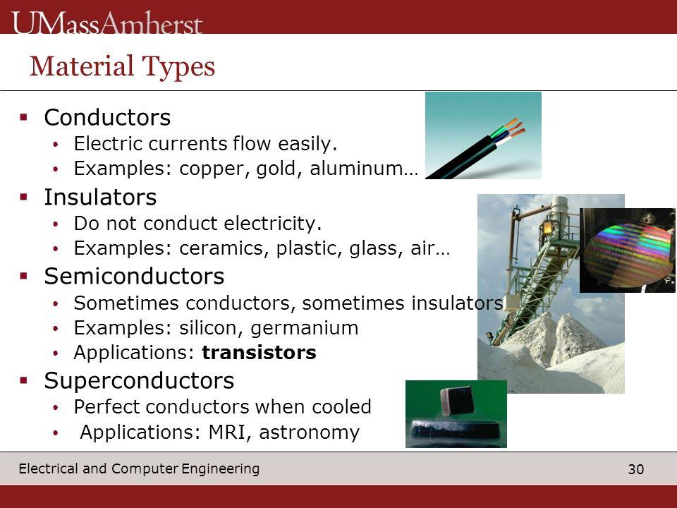 Material Types Conductors Insulators Semiconductors Superconductors