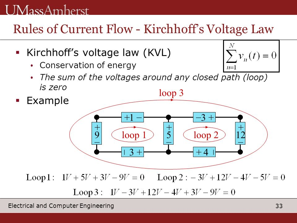Rules of Current Flow - Kirchhoff's Voltage Law
