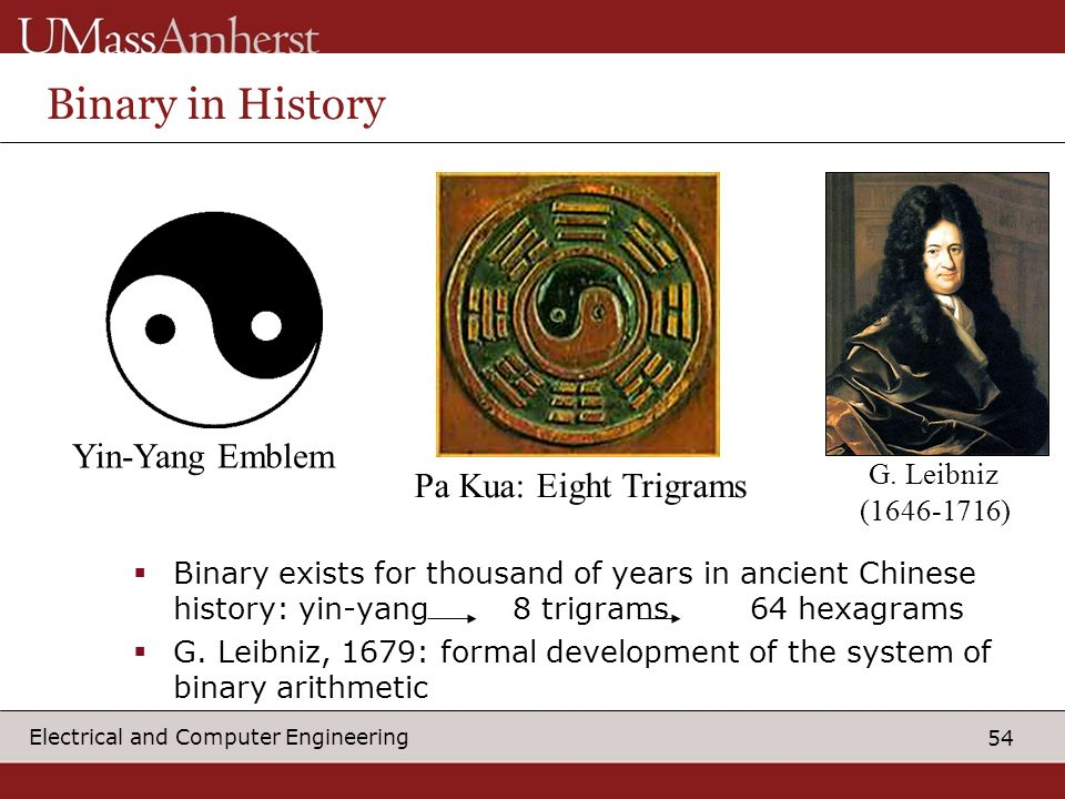 Binary in History Yin-Yang Emblem G. Leibniz Pa Kua: Eight Trigrams