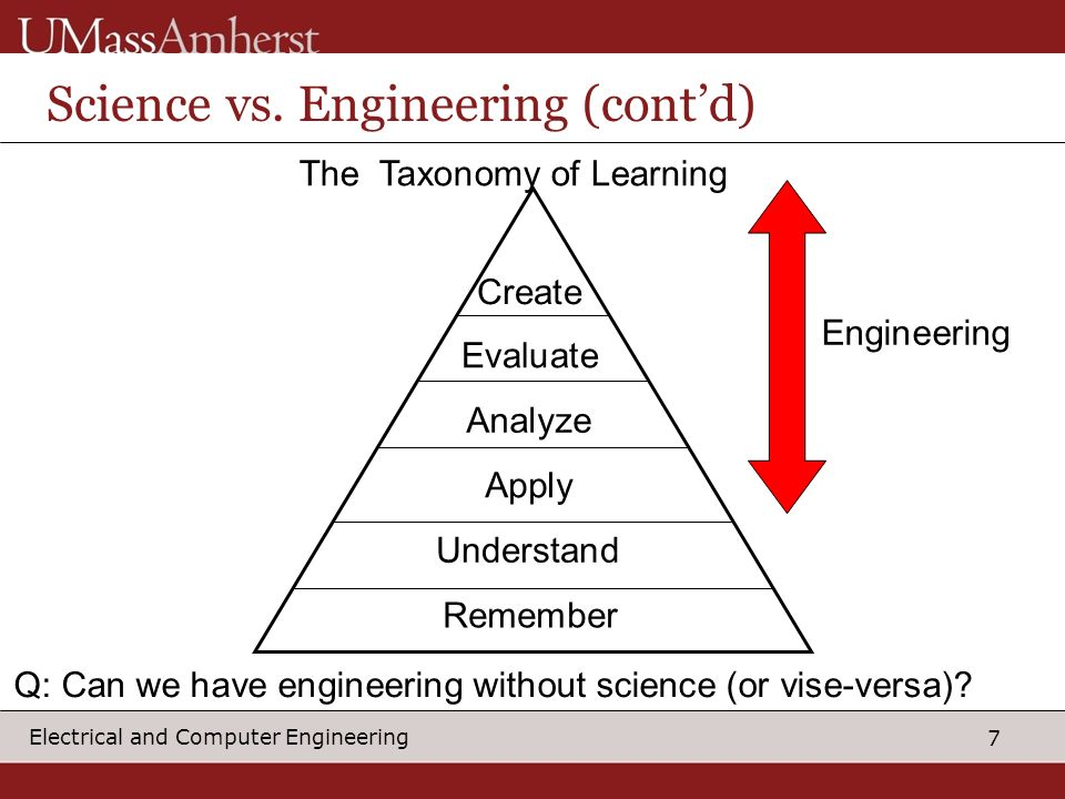 Science vs. Engineering (cont'd)