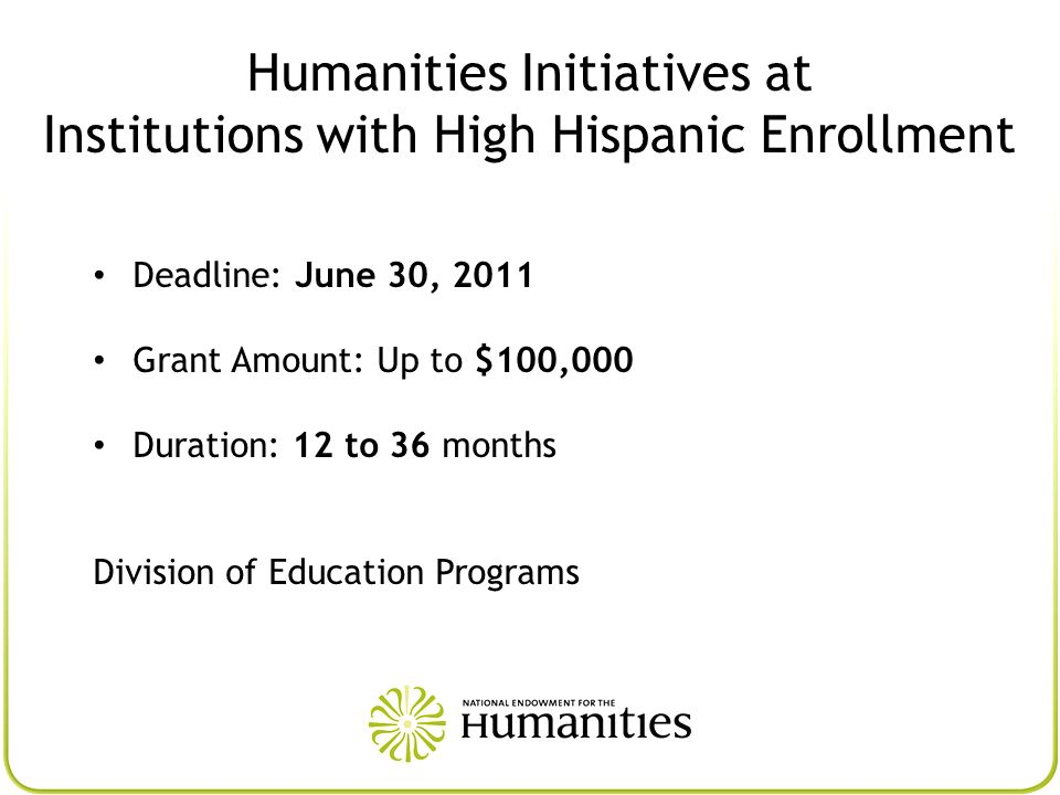 Humanities Initiatives at Institutions with High Hispanic Enrollment