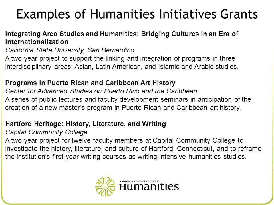 Examples of Humanities Initiatives Grants