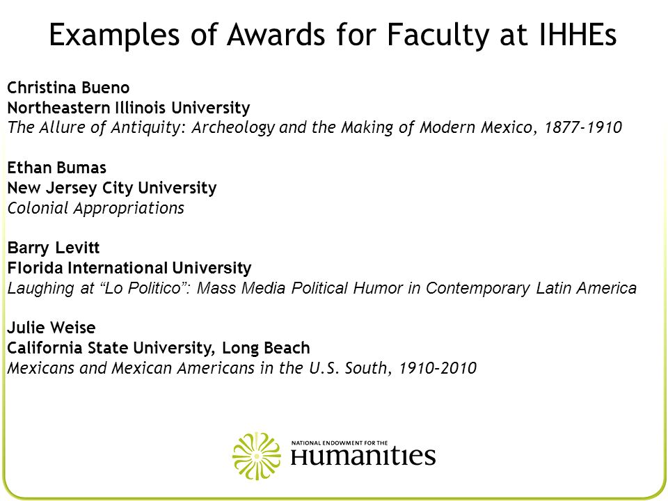 Examples of Awards for Faculty at IHHEs