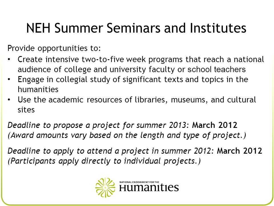 NEH Summer Seminars and Institutes