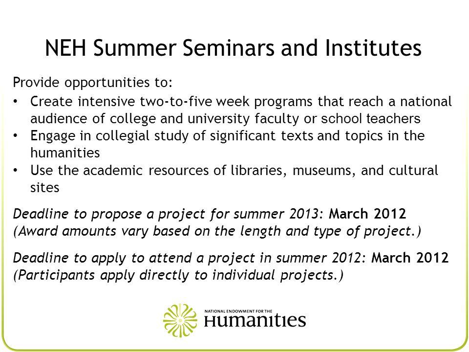 NEH Summer Seminars and Institutes