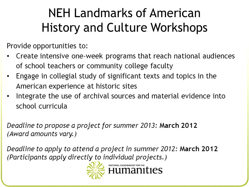 NEH Landmarks of American History and Culture Workshops