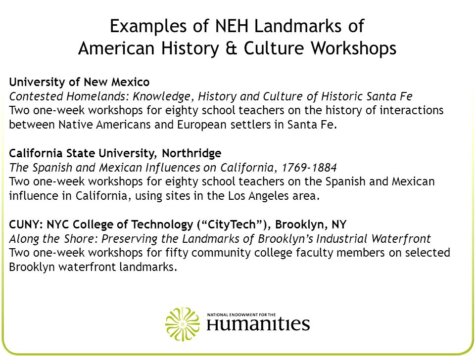 Examples of NEH Landmarks of American History & Culture Workshops