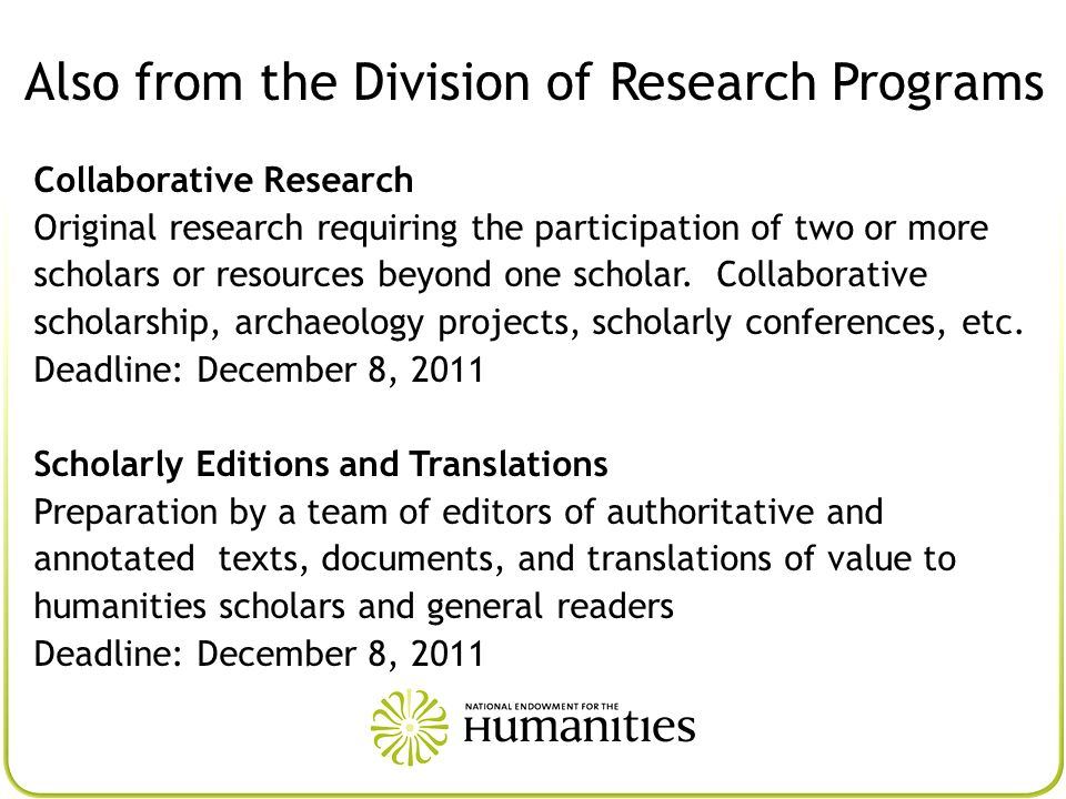 Also from the Division of Research Programs