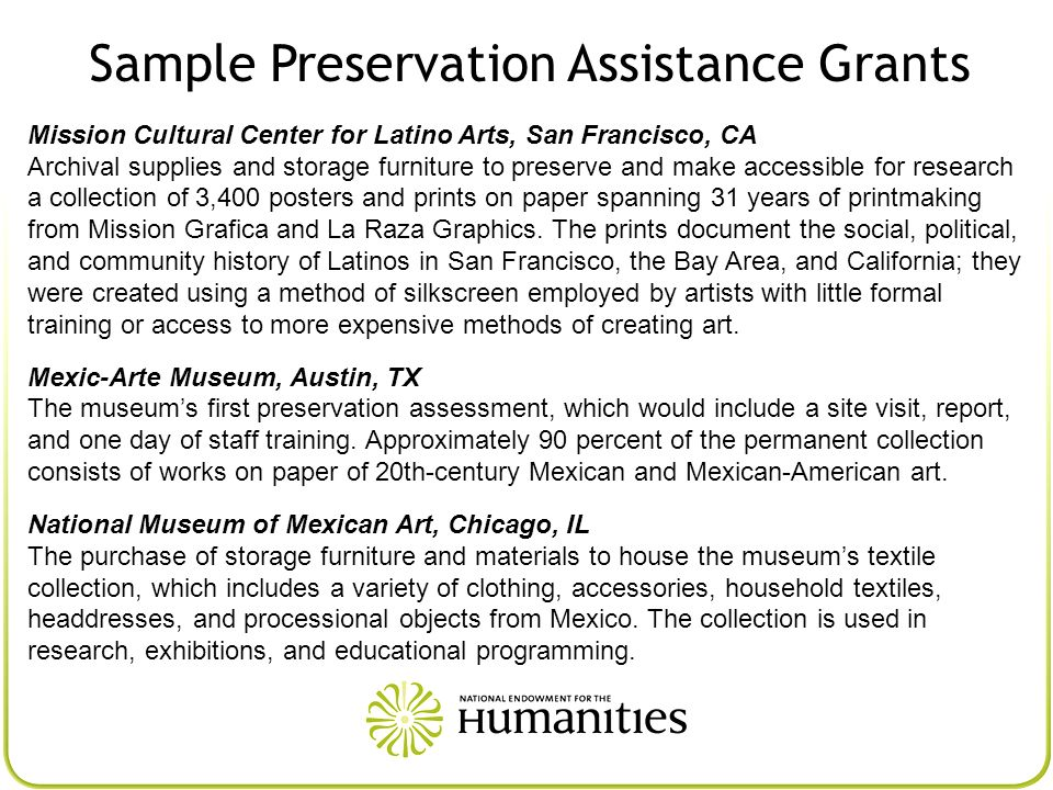 Sample Preservation Assistance Grants