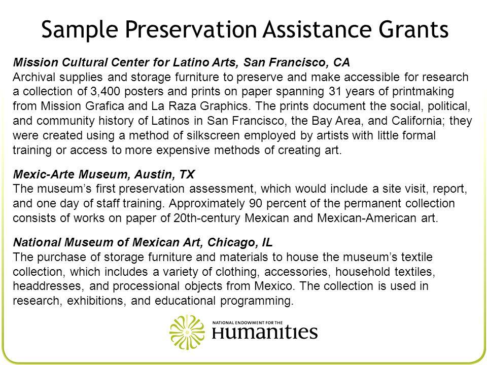 Sample Preservation Assistance Grants
