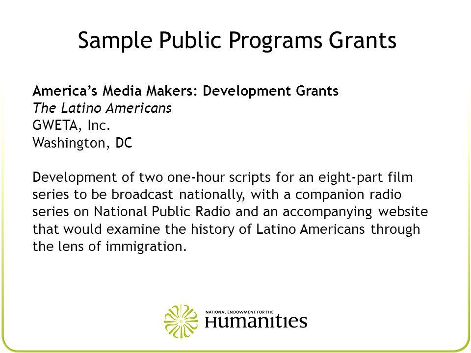 Sample Public Programs Grants