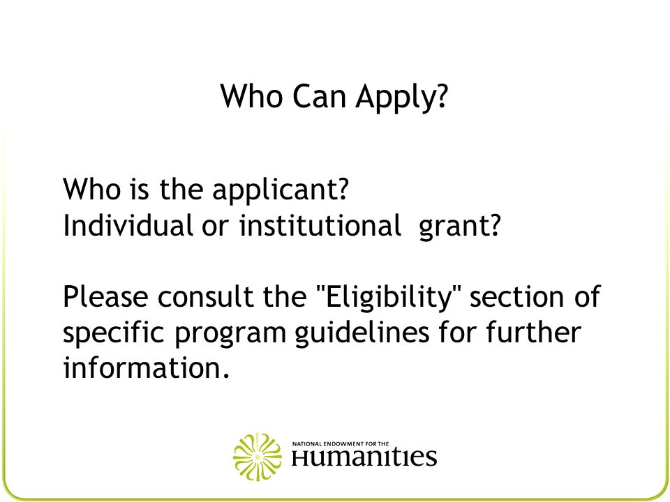 Who Can Apply Who is the applicant