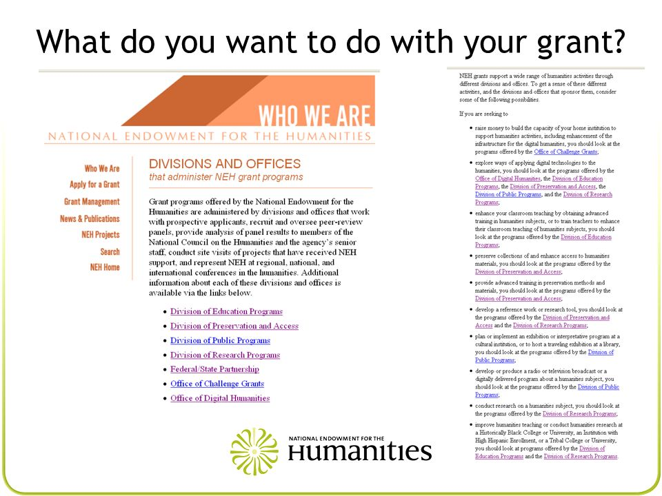 What do you want to do with your grant