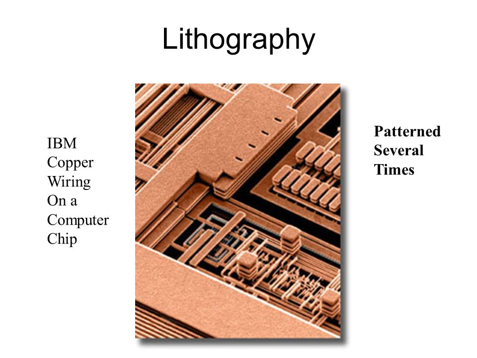 Lithography Patterned Several IBM Times Copper Wiring On a Computer