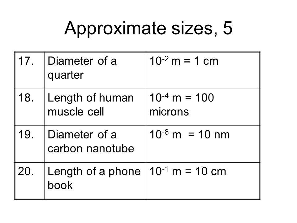 Approximate sizes, 5 17. Diameter of a quarter 10-2 m = 1 cm 18.
