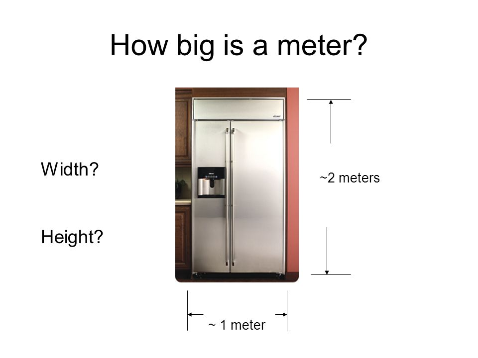 How big is a meter Width ~2 meters Height ~ 1 meter