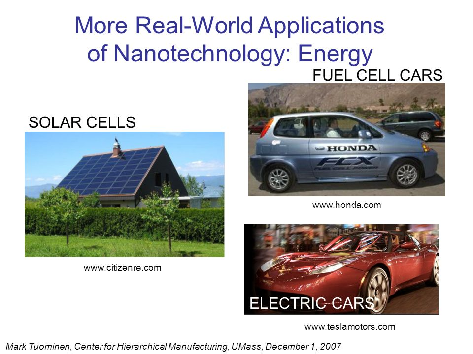 More Real-World Applications of Nanotechnology: Energy