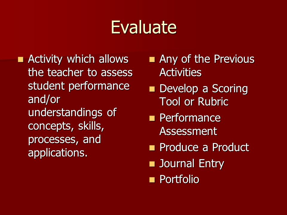 Evaluate Activity which allows the teacher to assess student performance and/or understandings of concepts, skills, processes, and applications.
