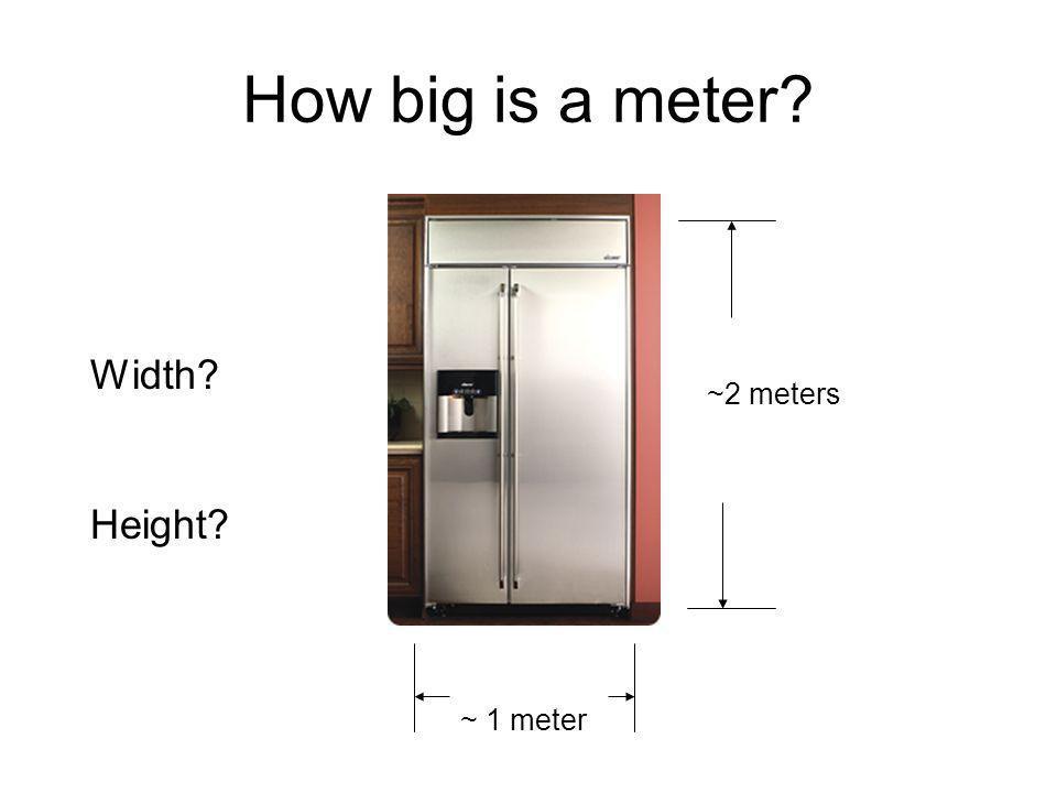 How big is a meter Width ~2 meters Height ~ 1 meter
