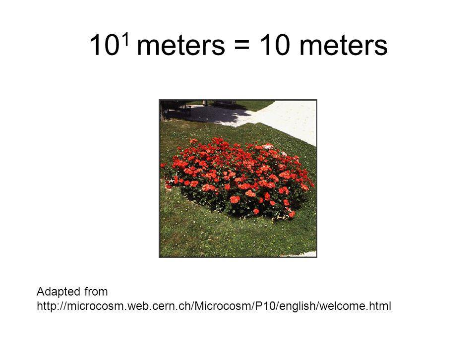 101 meters = 10 meters Adapted from http://microcosm.web.cern.ch/Microcosm/P10/english/welcome.html