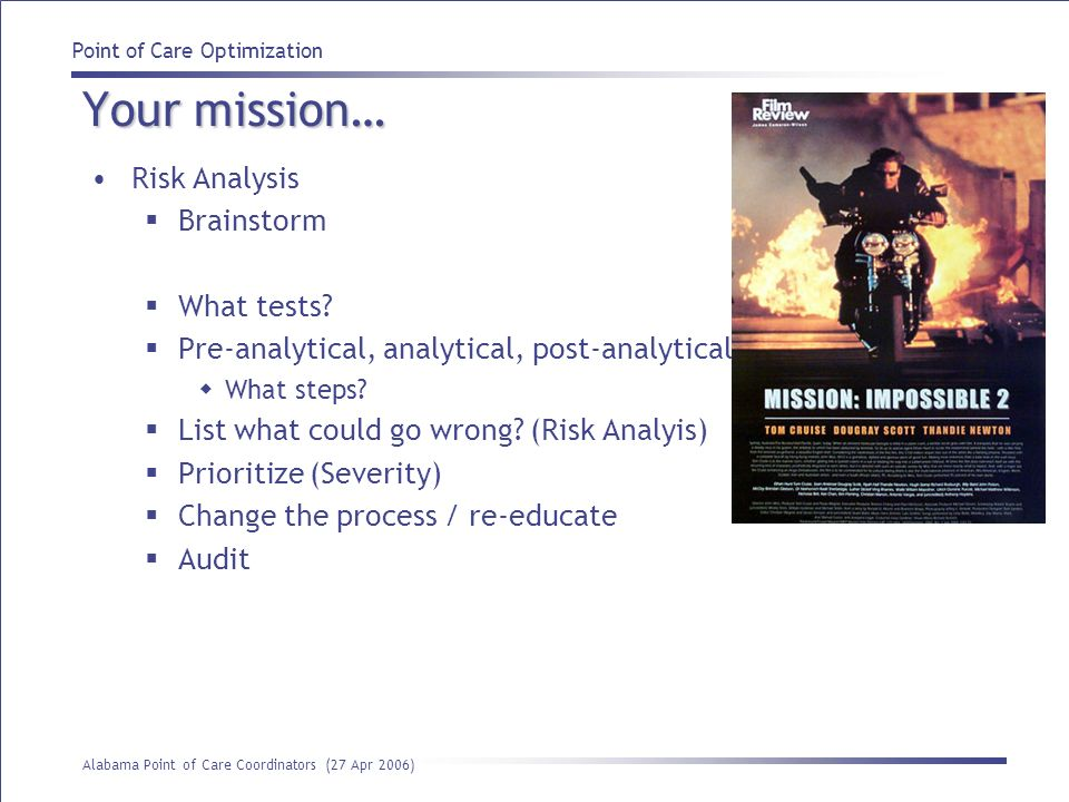 Your mission… Risk Analysis Brainstorm What tests