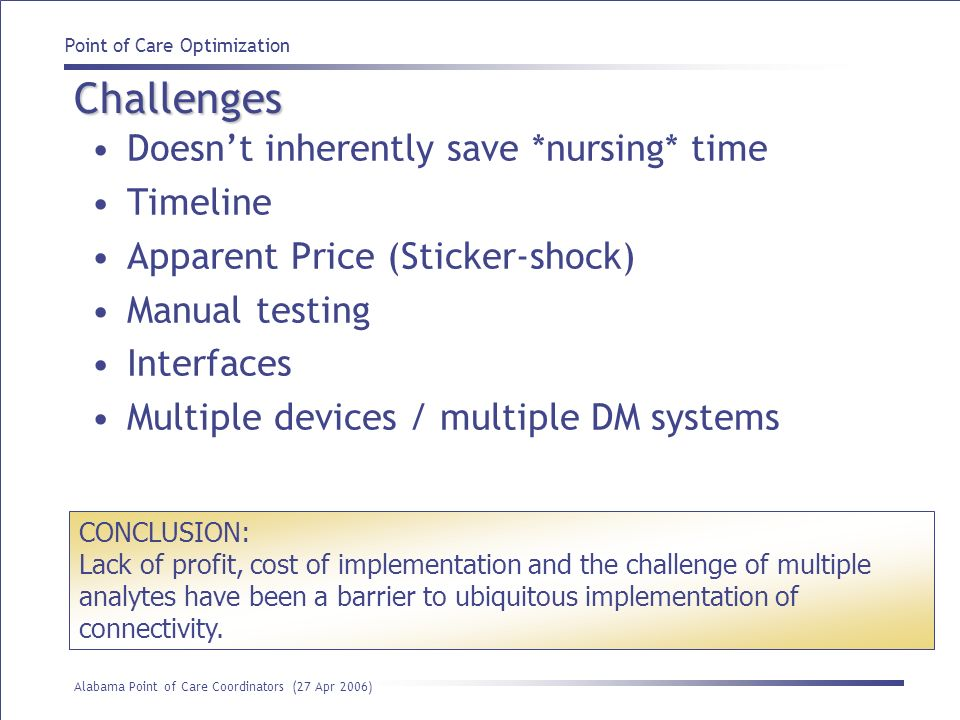Challenges Doesn't inherently save *nursing* time Timeline
