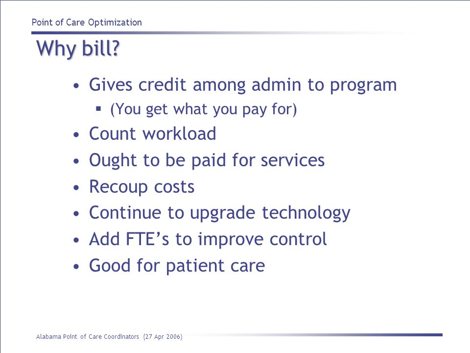 Why bill Gives credit among admin to program Count workload