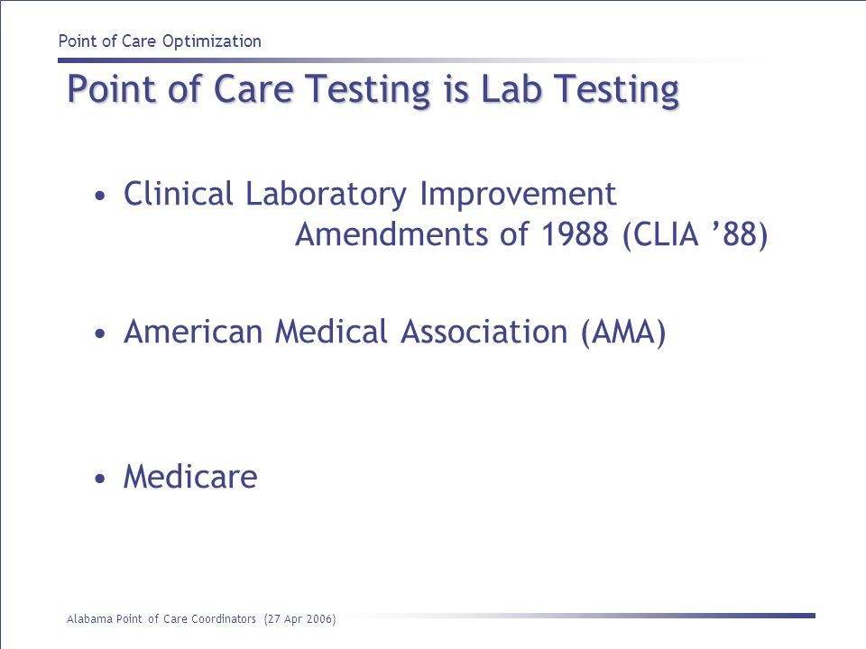 Point of Care Testing is Lab Testing