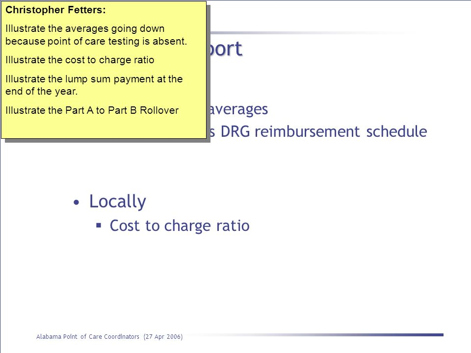 Use of the cost report Globally Locally PPS based on averages